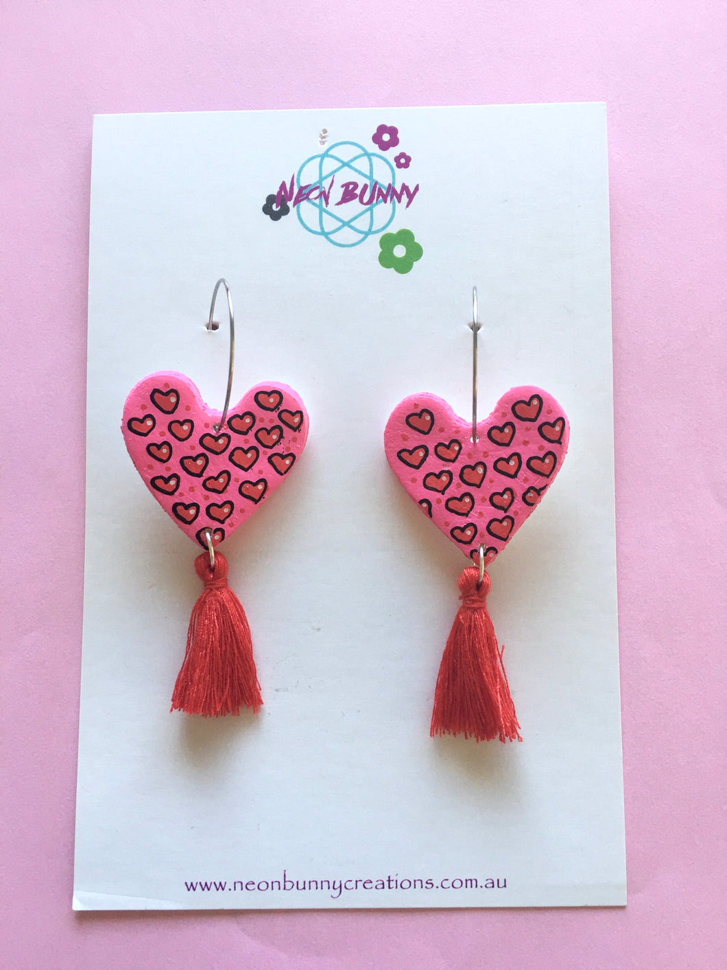 Heart Dangles With Red Tassels