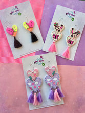 Load image into Gallery viewer, Rainbow Wonderland Clay Heart Dangles
