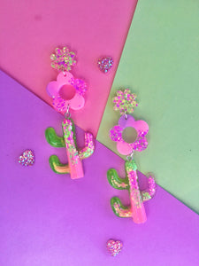 Daisy Cactus Dangles- Neon Glitter Statement Earrings (Made To Order)
