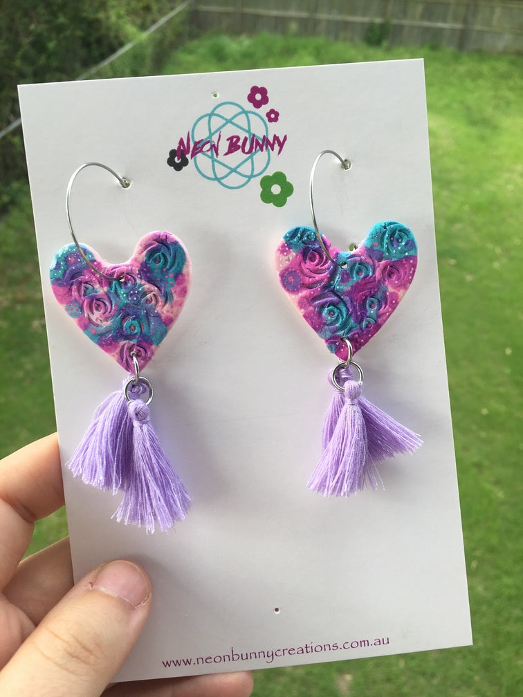 Tye dye mini heart dangles with tassels