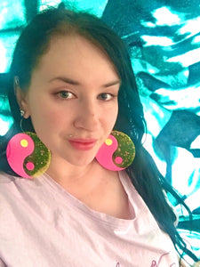 Jumbo pink and yellow yin yang earrings