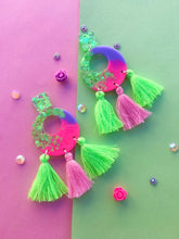 Load image into Gallery viewer, Electric Lime And Pink Dangles With Tassels