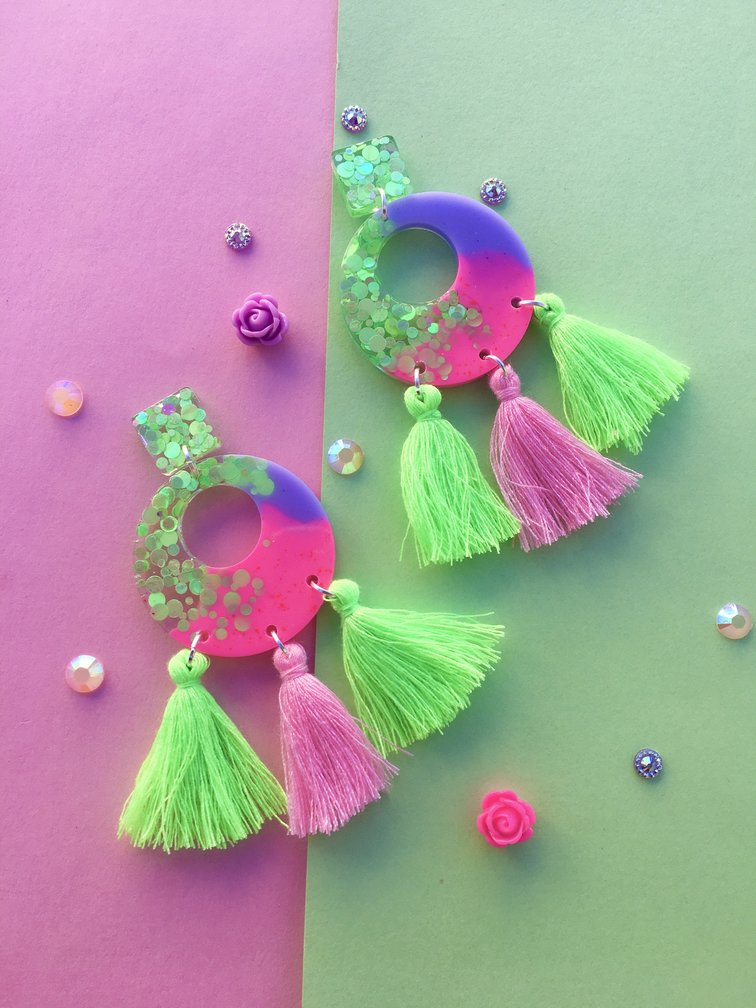Electric Lime And Pink Dangles With Tassels