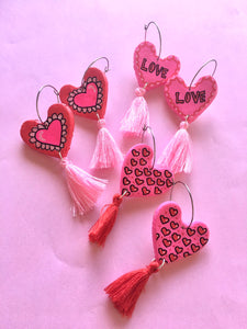 Puffy Heart Dangles With Pink Tassels