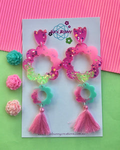 Pink Flower Blossom Dangles Glitter Earrings