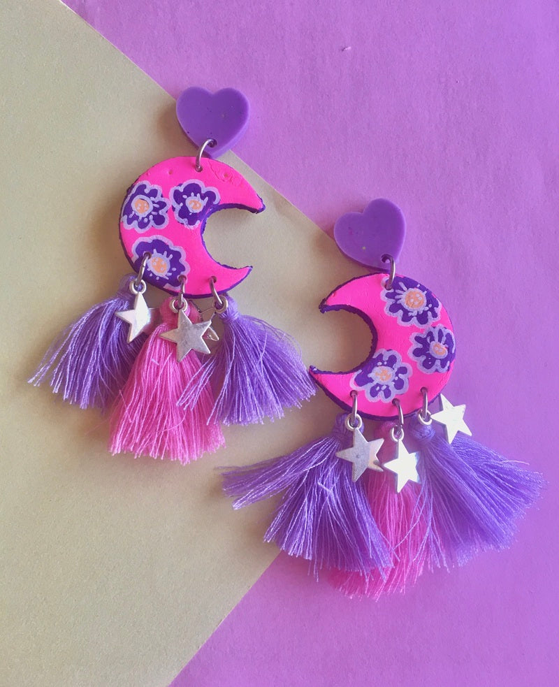 Gypsy moon flower power earrings