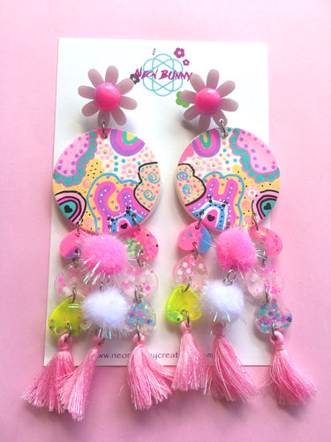 Bunny land Large Statement Earrings