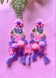 Kitty land pink and purple statement earrings
