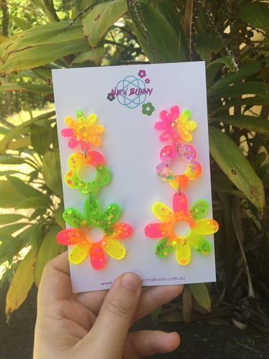 Electric yellow and pink daisy earrings