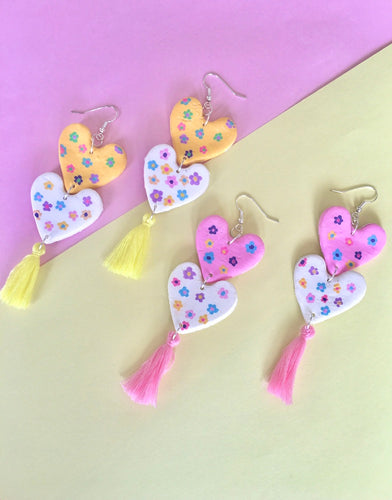 Flower power statement earrings/ double hearts with tassels