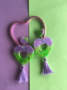 Celestial Heart Dangles With Tassels