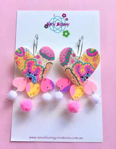 Bunny land Large Heart Earrings With Pom Poms