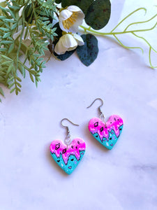 Nebula horizon mini heart earrings