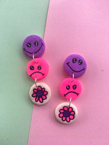 Mixed Feelings Smiley Daisy Dangles