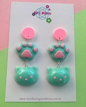 Load image into Gallery viewer, Kitty paw dangles kawaii cat earrings