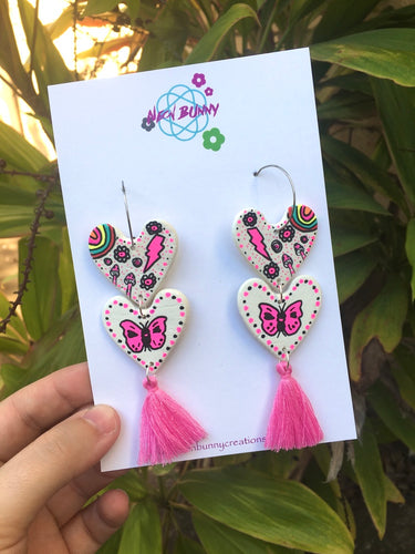 Butterfly Heart Dangles Pink Clay Earrings