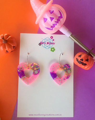 Spider Heart Halloween Pink Candy Heart Dangles