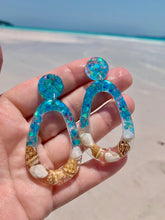 Load image into Gallery viewer, Blue Seashell Dangle Earrings
