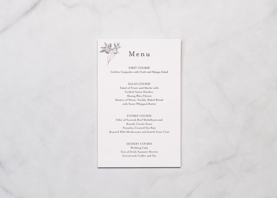 Fine Flora - Reception Menu