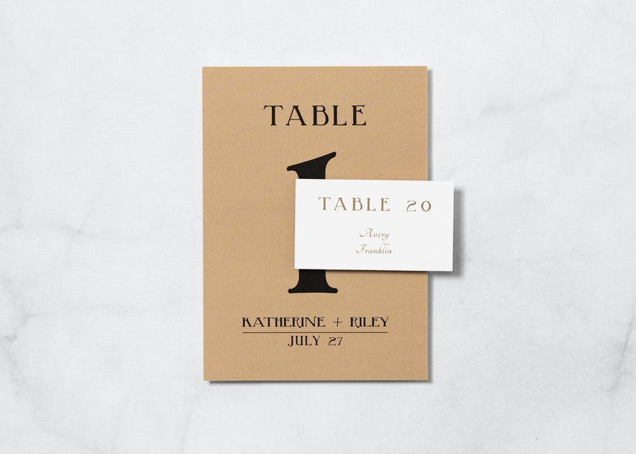 Golden Gatsby - Reception Place Cards - Tented