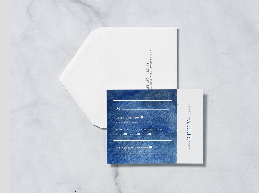 Navy Waves - Save the Date Card & Envelope