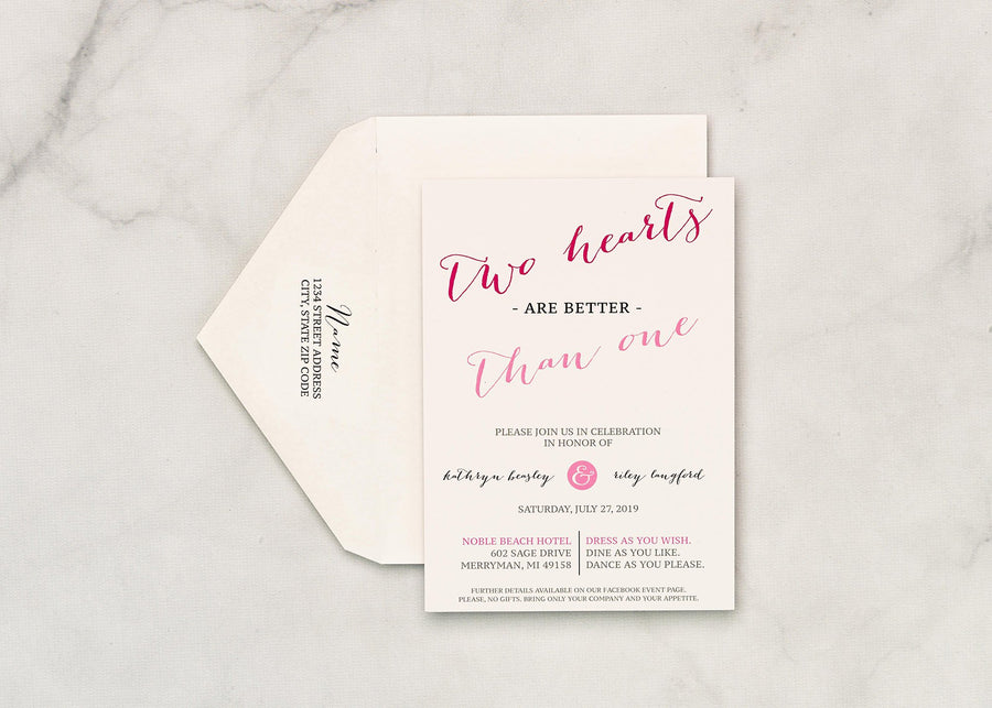 Pretty in Pink - Invitation Card & Envelope