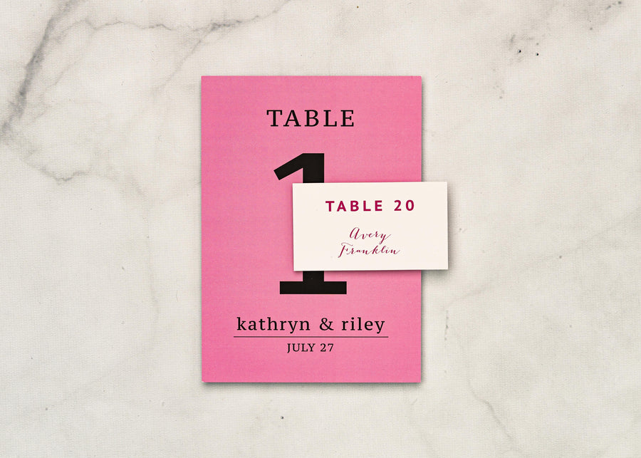 Pretty in Pink - Reception Table Numbers