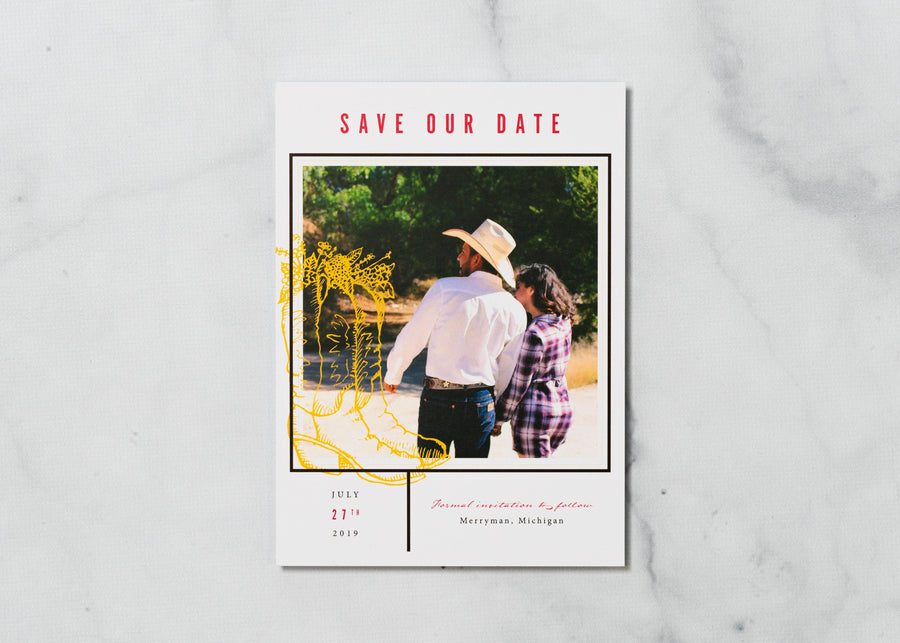 Sketched Boots - Save the Date Card & Envelope