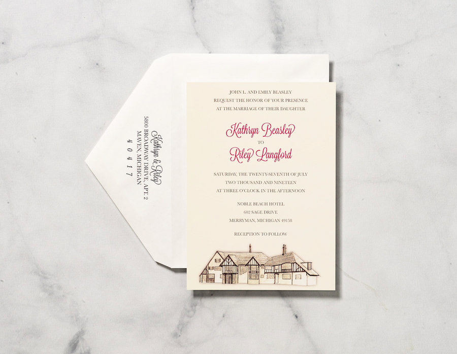 Sketched Manor - Invitation Card & Envelope