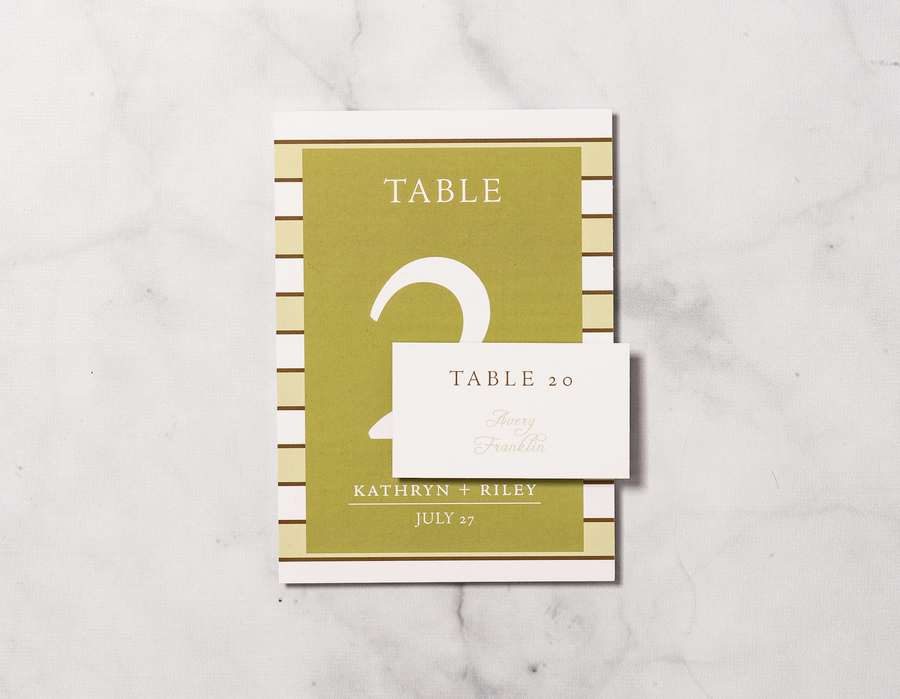 Stripes for Two - Reception Place Cards - Tented