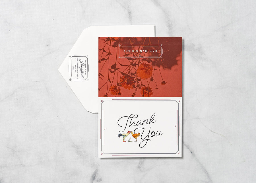 Wedding Day Chickens - Thank You Card & Envelope