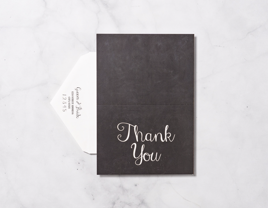 Chalkboard Elegance - Thank You Card & Envelope