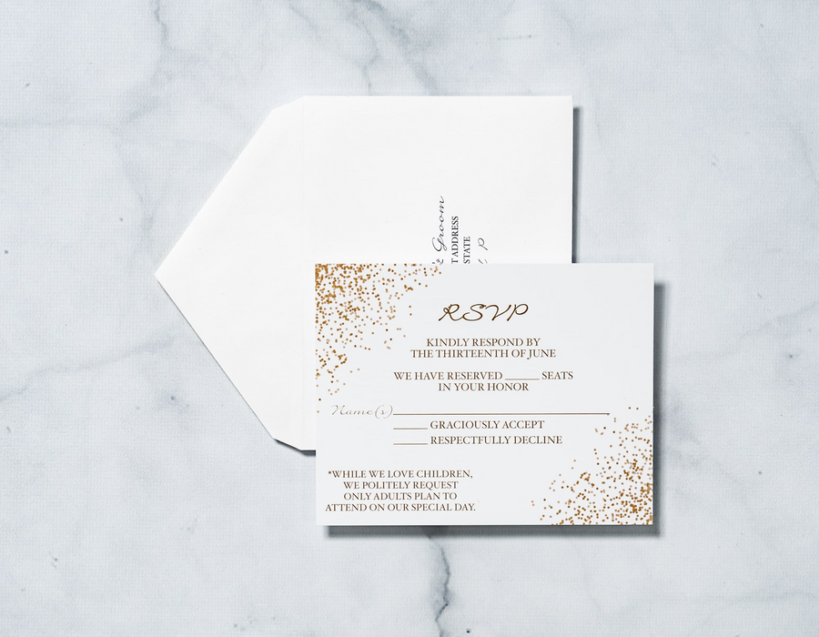 Gold Confetti - Response Card & Envelope