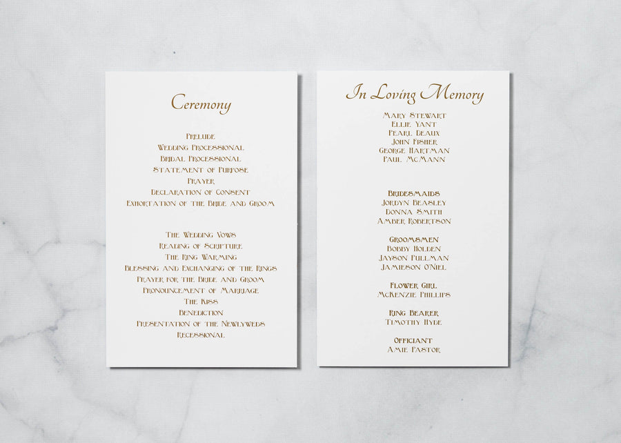 Golden Gatsby - Ceremony Program