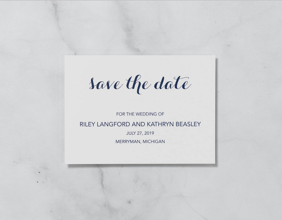 Graceful Script - Save the Date Card & Envelope