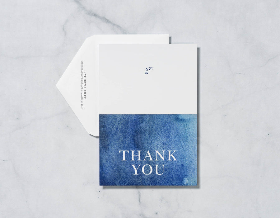 Navy Waves - Thank You Card & Envelope