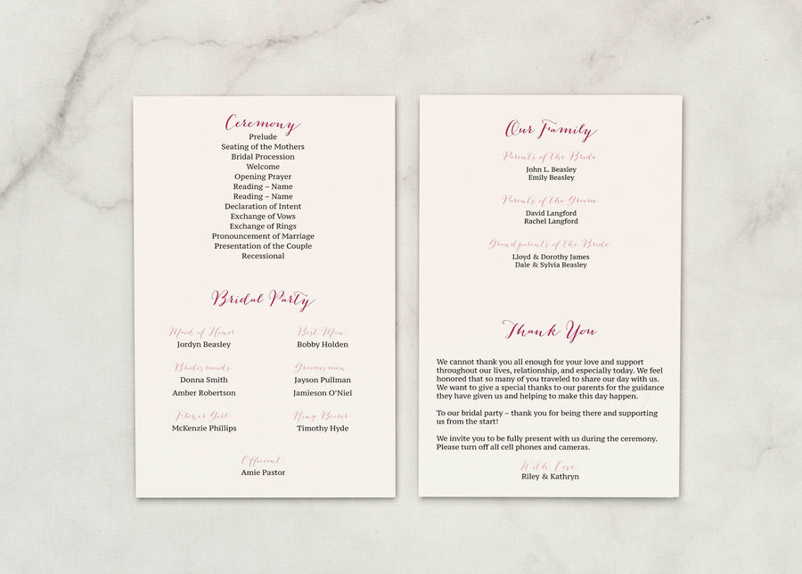 Pretty in Pink - Ceremony Program