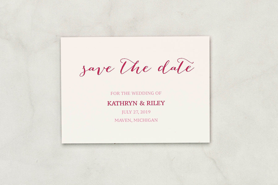 Pretty in Pink - Save the Date Card & Envelope