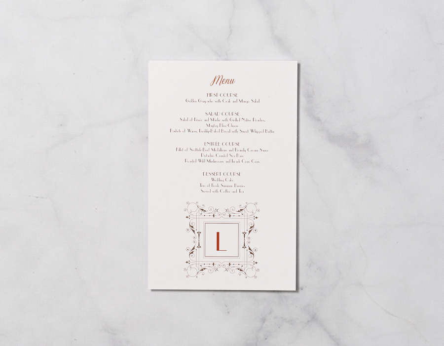Retro Monogram - Reception Menu
