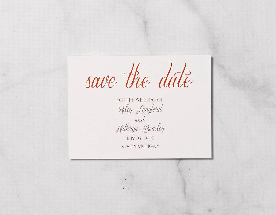 Retro Monogram - Save the Date Card & Envelope
