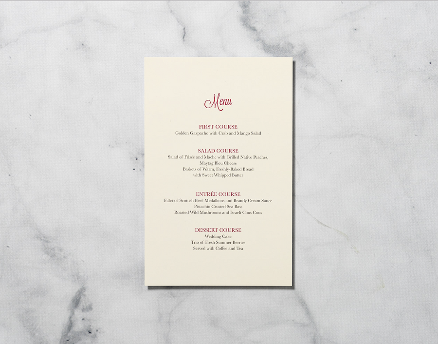 Sketched Manor - Reception Menu