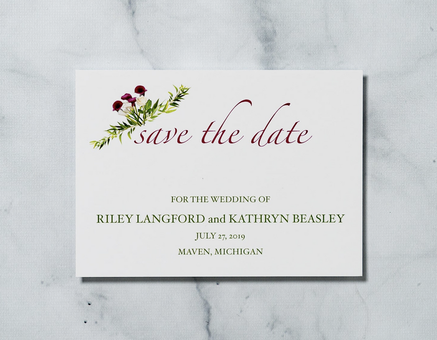 Sweet Calla Lilly - Save the Date Card & Envelope