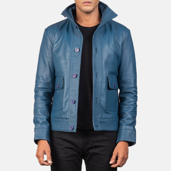 Columbus Blue Leather Bomber Jacket