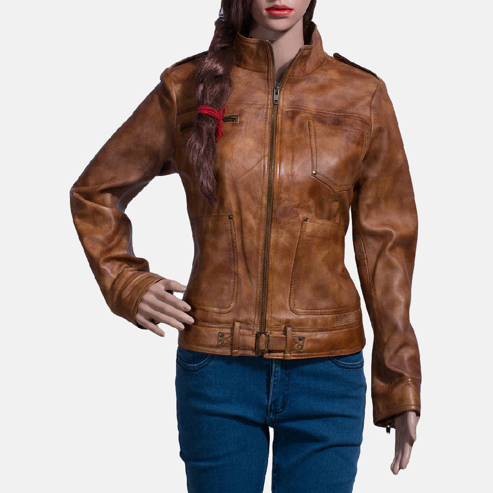 Ethereal Brown Leather Biker Jacket