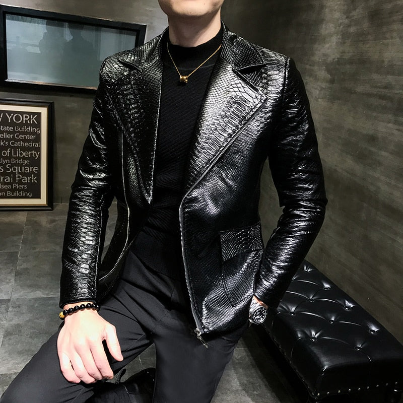 Handsome Leisure Zipper Faux Leather Jackets
