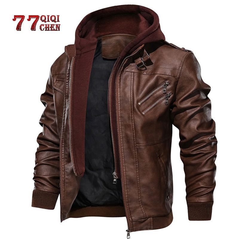 Motorcycle Removable Hood Pu Leather Jacket