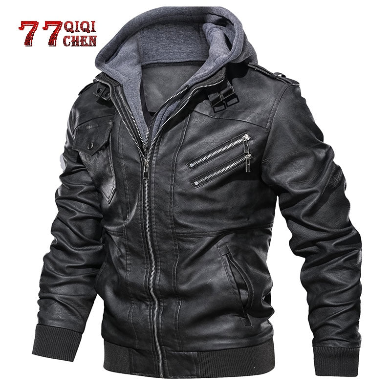 Oblique Zipper Motorcycle Leather Jacket