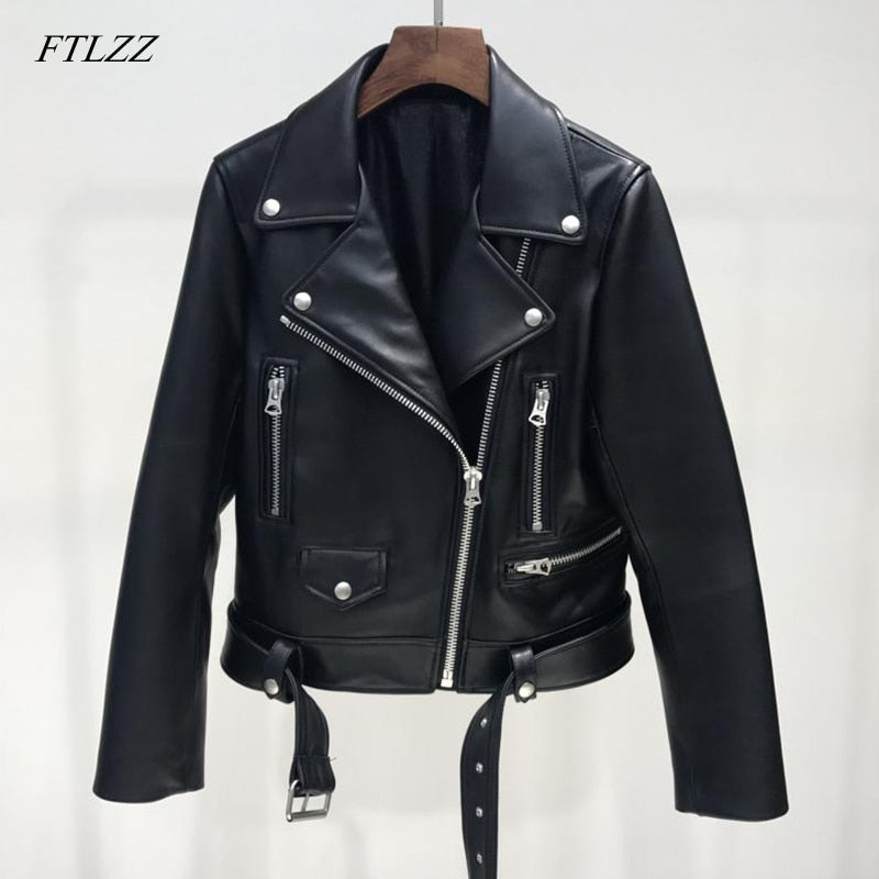 FTLZZ Women Black Bomber Faux Leather Coat
