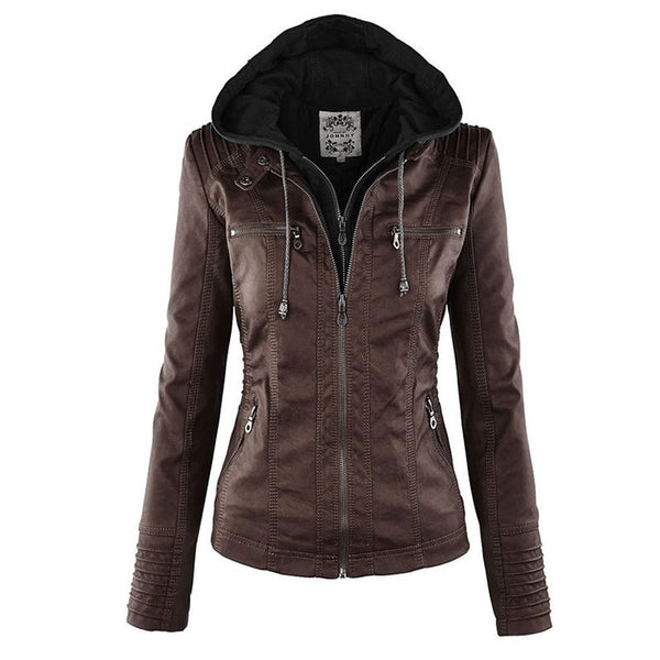 Female Faux Motorcycle  Hoodies Leather Jacket