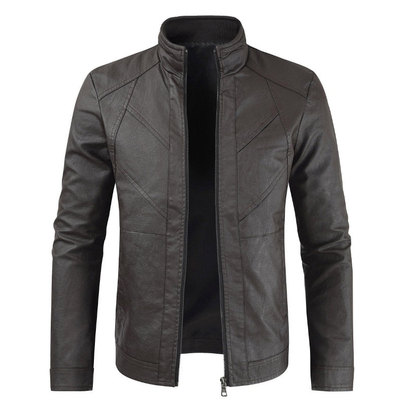 Men's Casual Stand Collar Motorcycle PU Leather Jacket